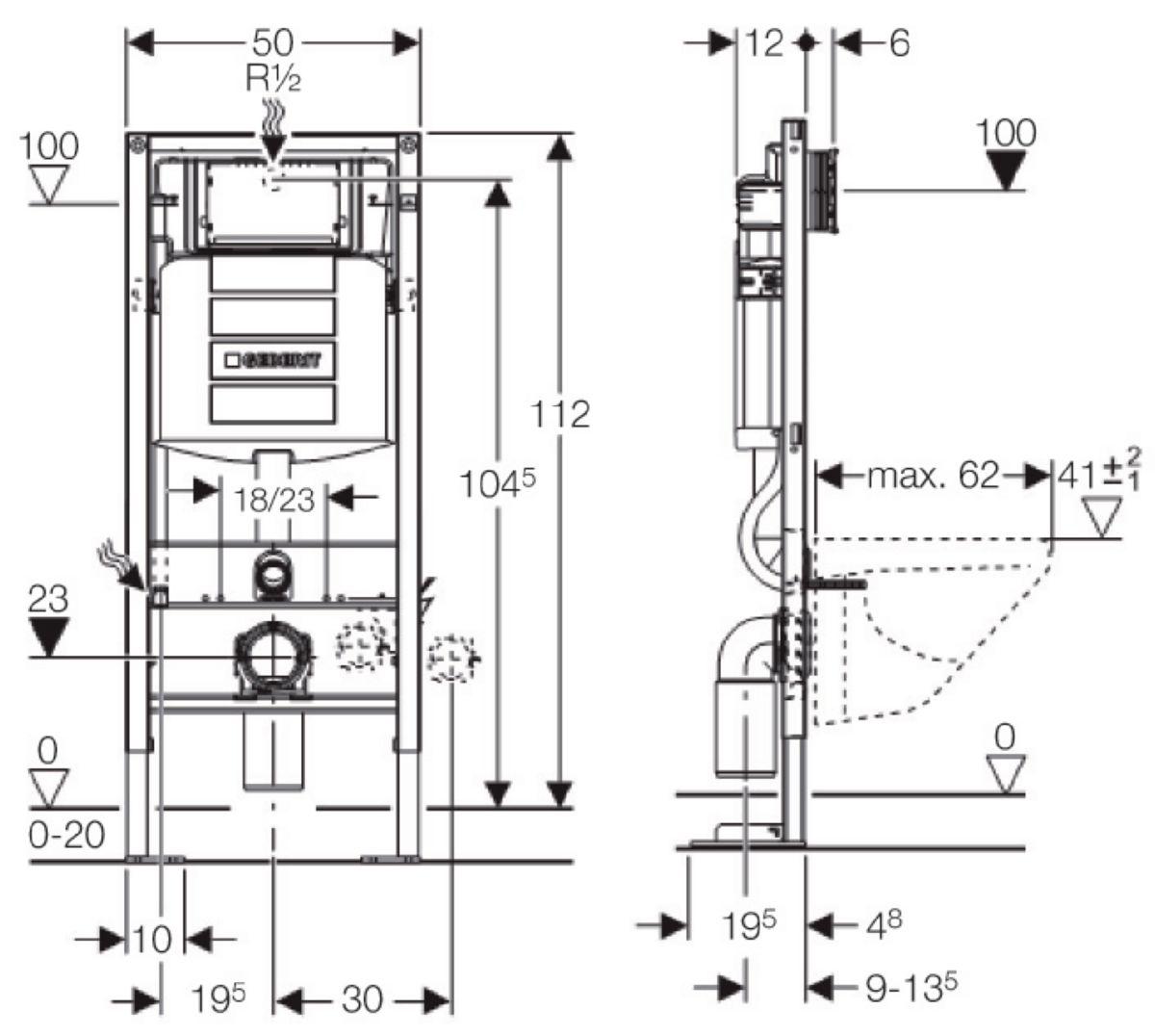 Largeur Wc Suspendu Geberit bâti-support autoportant duofix plus up320 h : 112 cm réf. 111333005