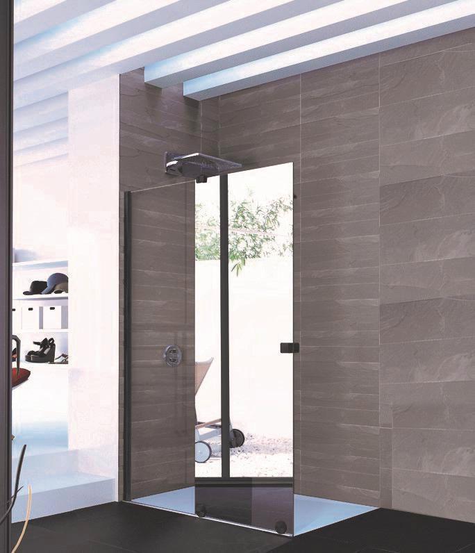 Paroi De Douche Coulissante Pureday Verre Fixe Timeless Porte Effet Miroir Anti Plaque Profile Noir 140 Cm Gauche