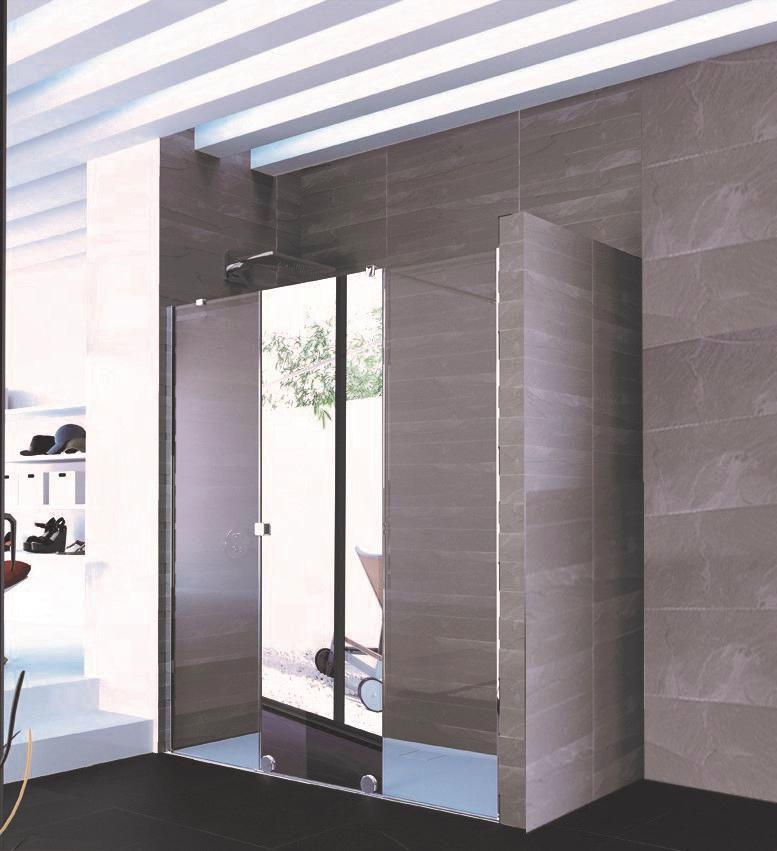 Paroi De Douche Coulissante Pureday Xl Verre Fixe Timeless Porte Effet Miroir Anti Plaque Profile Chrome 220 Cm Droite