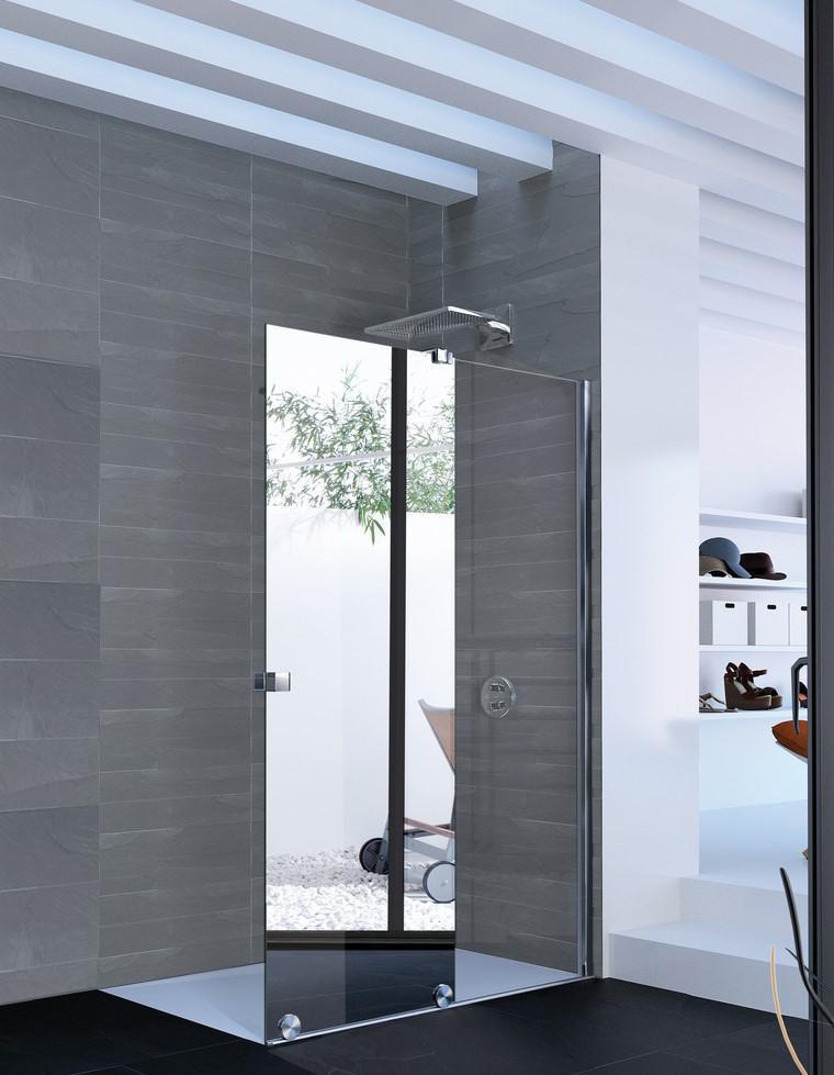 Paroi De Douche Coulissante Pureday Verre Fixe Timeless Porte Effet Miroir Anti Plaque Profile Chrome 120 Cm Droite