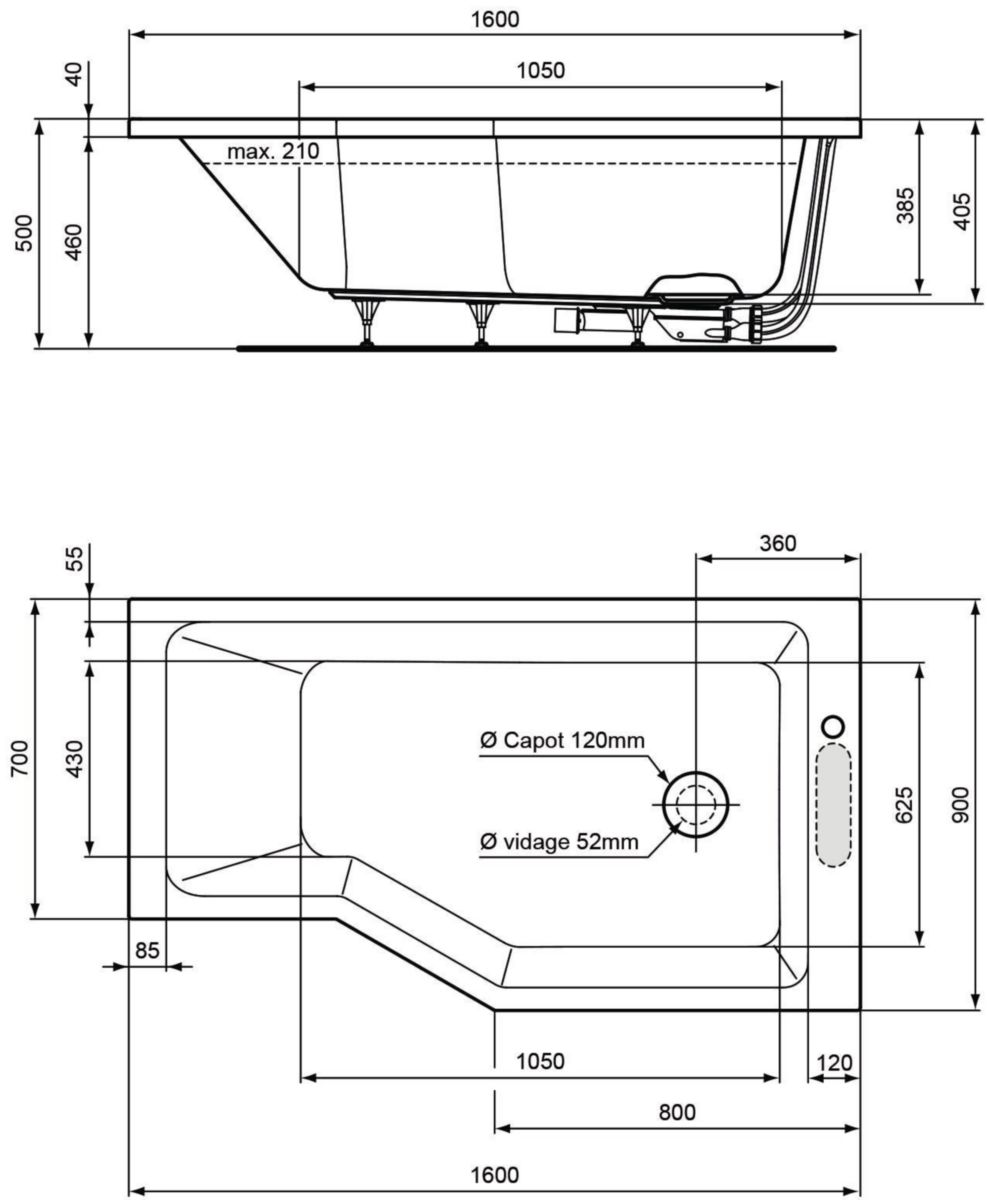 Alterna Baignoire Asymetrique Plenitude 3 160 90 70 Cm Droite Acrylique Blanc Vidage Inclus Cedeo