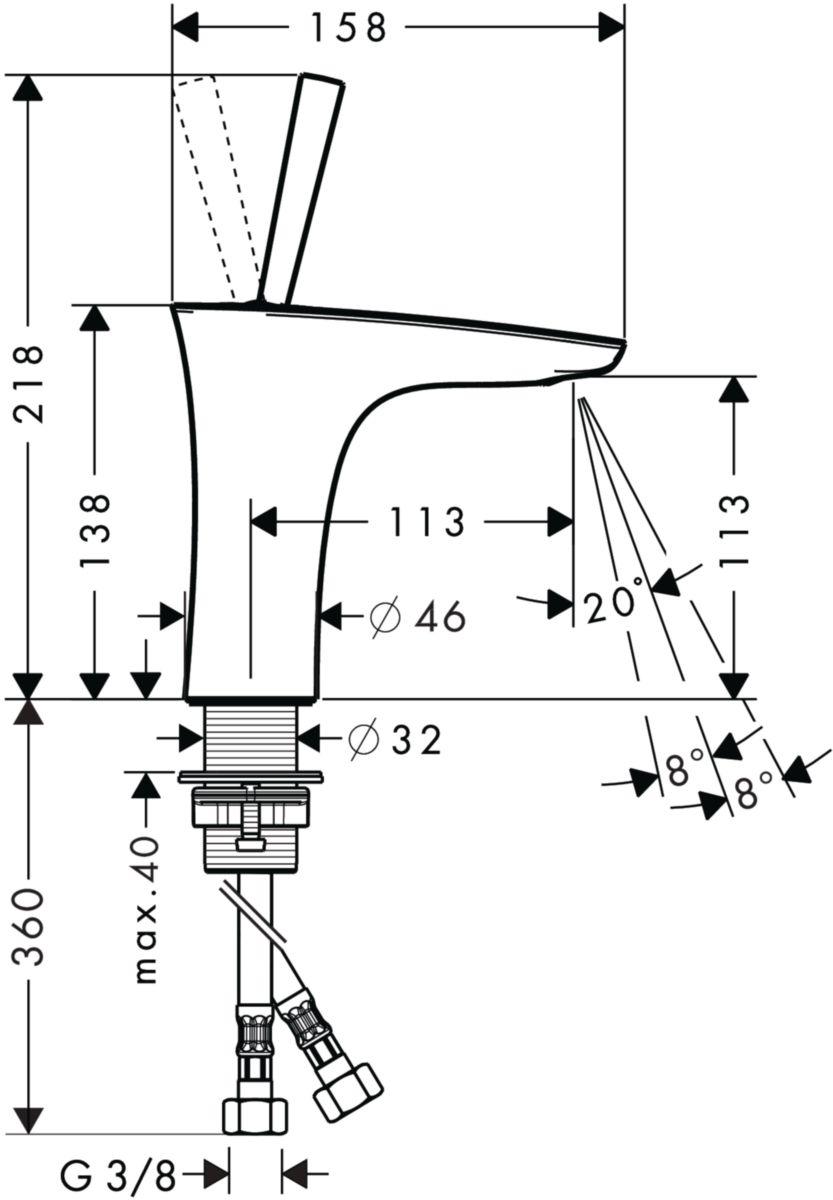 Mitigeur de lavabo jet orientable PURAVIDA Chromé réf. 15070000