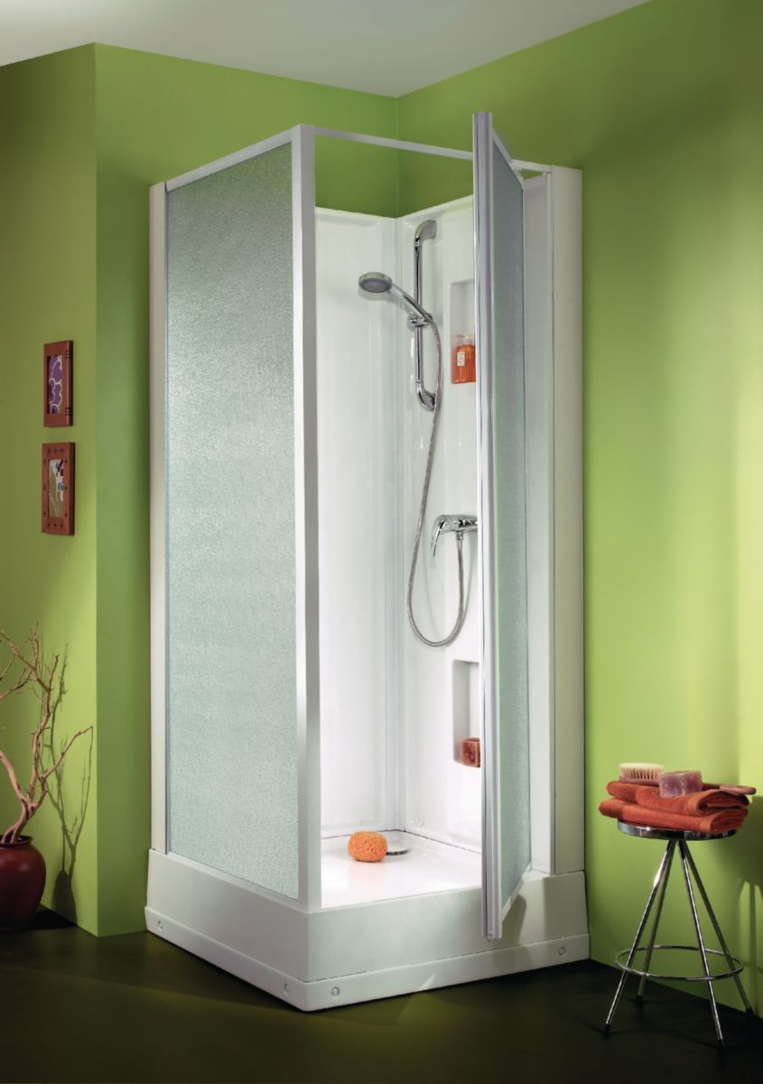 Cabine de douche IZIBOX carrée 70x70cm, installation en angle ou encastrée, équipement Confort, avec mitigeur, portes pivotantes, profilé bl