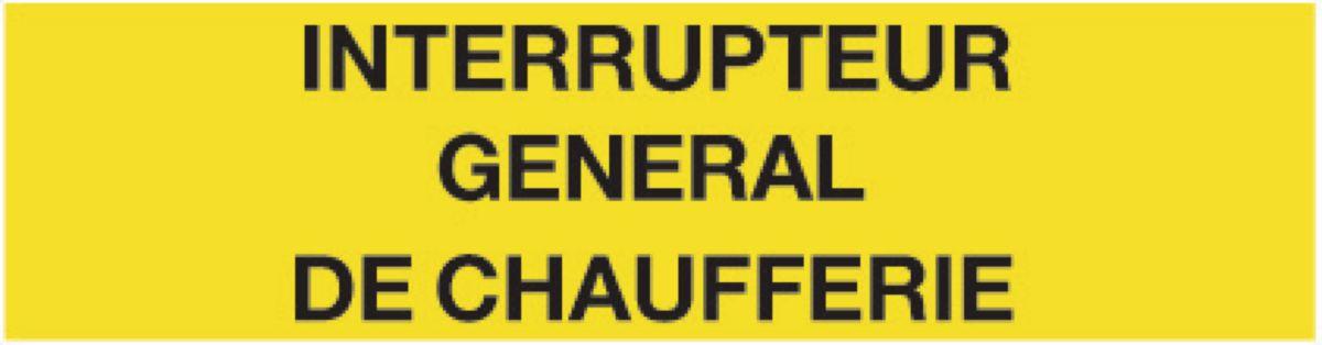 Plaque Interrupteur général de chaufferie Réf 215242