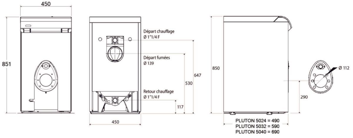 chaudi re sol fonte fioul pluton 5032 chauffage seul basse temp rature convertible gaz sortie. Black Bedroom Furniture Sets. Home Design Ideas