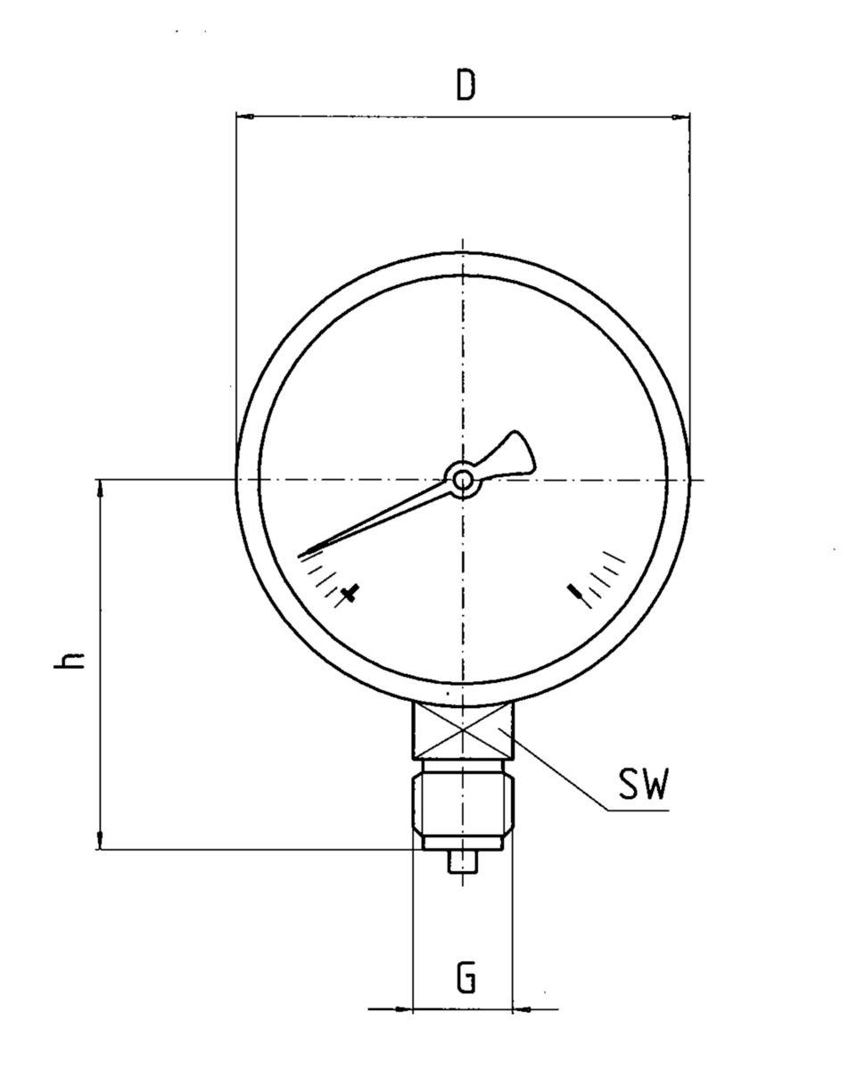 Manomètre diam 63mm 0 à 6 bars raccord vertical euro 51