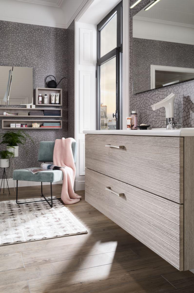 Meuble salle de bain UNIQUE onde epicea gris 120 cm | Envie ...