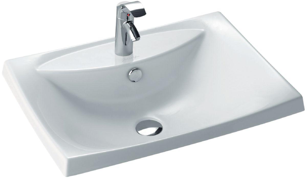 JACOB DELAFON - Vasque ESCALE 60 x 44 à encastrer par dessus blanche ...