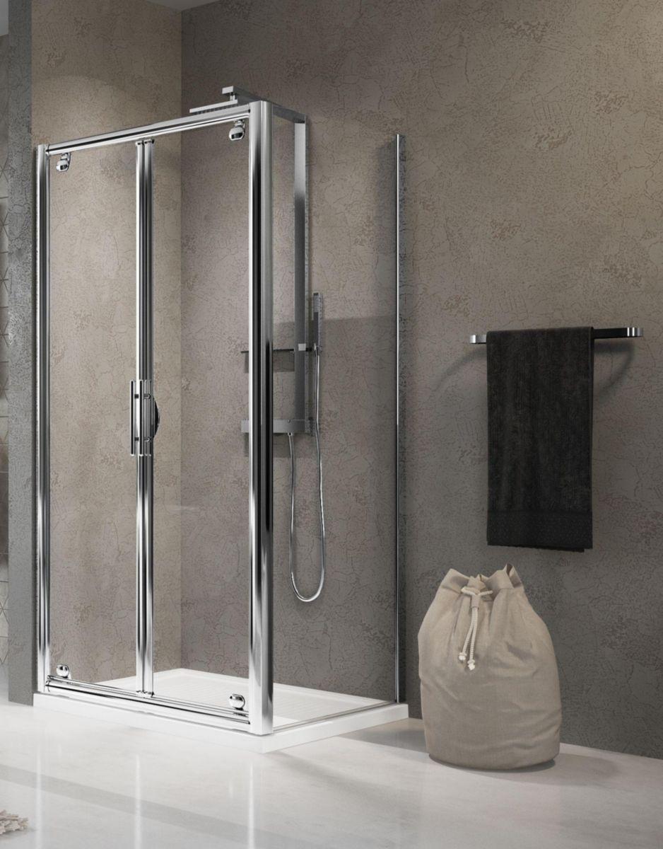 Porte de douche lunes b 78 cm extensible jusqu 39 84 cm pivotante ouverture ext rieure - Porte exterieure en verre ...