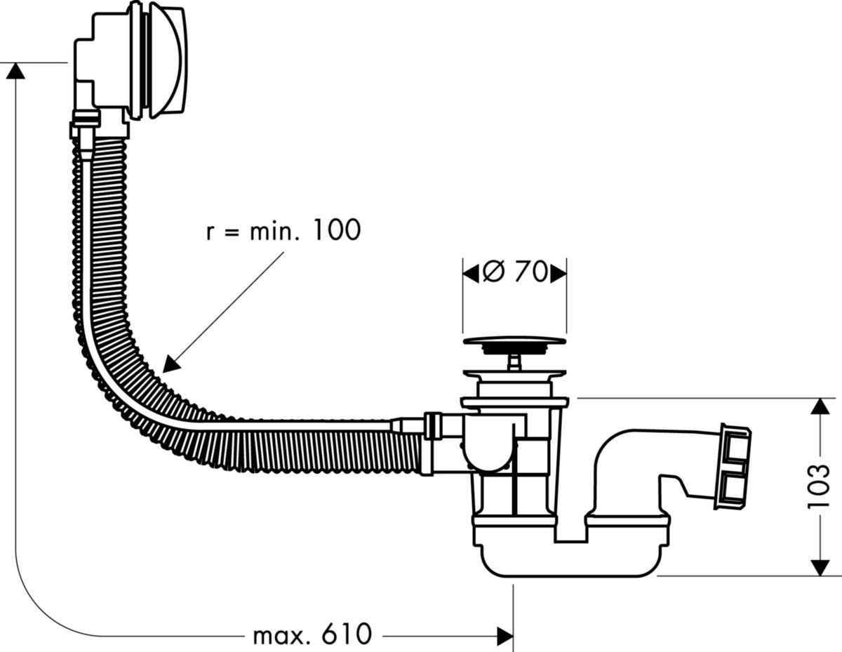 Set complet Flexaplus E pour vidage de baignoire standard Réf 58142000