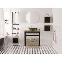 Meuble salle de bain KALLISTE chêne/métal noir 90 cm