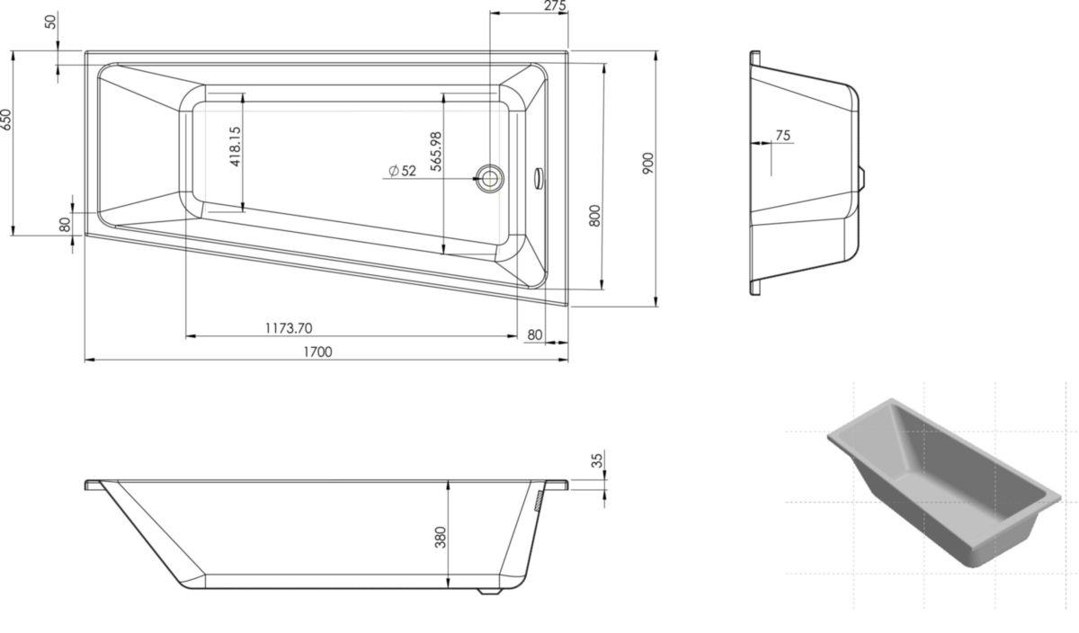 ALTERNA - Baignoire asymétrique CONCERTO 3 170 x 90/65 cm droite ...