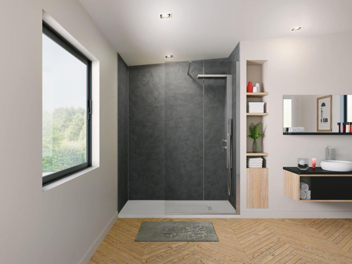 kinedo douche panneau mural kinewall design 122x225cm gris fonc bross sable bross r f. Black Bedroom Furniture Sets. Home Design Ideas