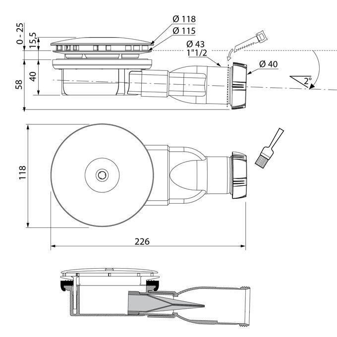 Siphon slim pour receveurs extra plat D90 ABS chromé Réf 30719686
