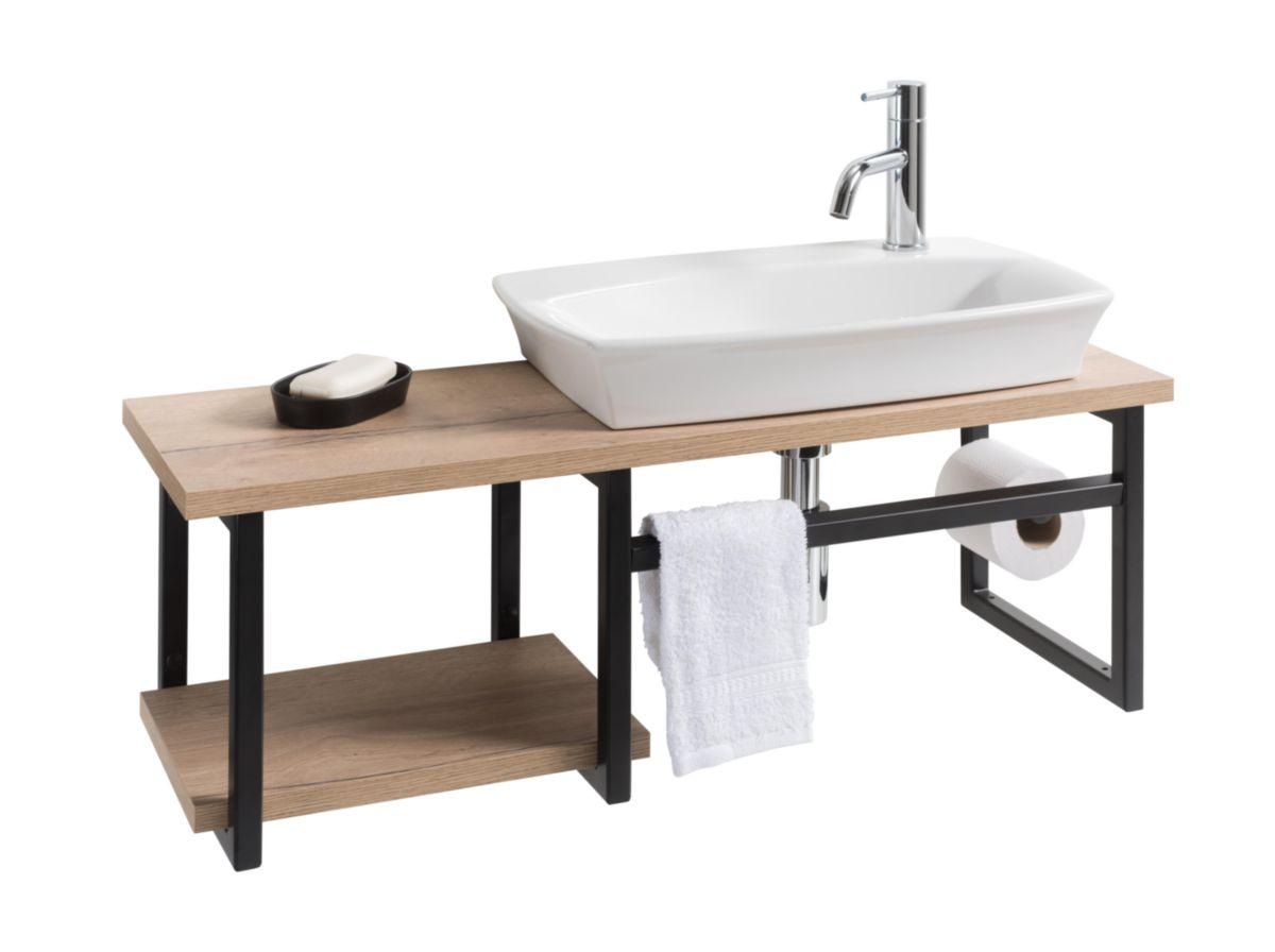 Lave-main ESQUISSE atelier avec dérouleur et porte-serviette intégrés finition métal noir mat et mélamine avec vasque céramique blanc à gauc