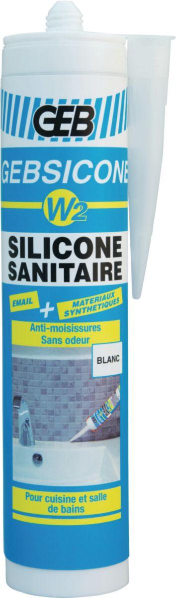 Mastic silicone neutre GEBSICONE W2 cartouche 310ml blanc réf 890501