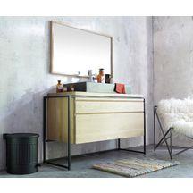 Meuble salle de bain BELT chêne avec armature noir 135 cm
