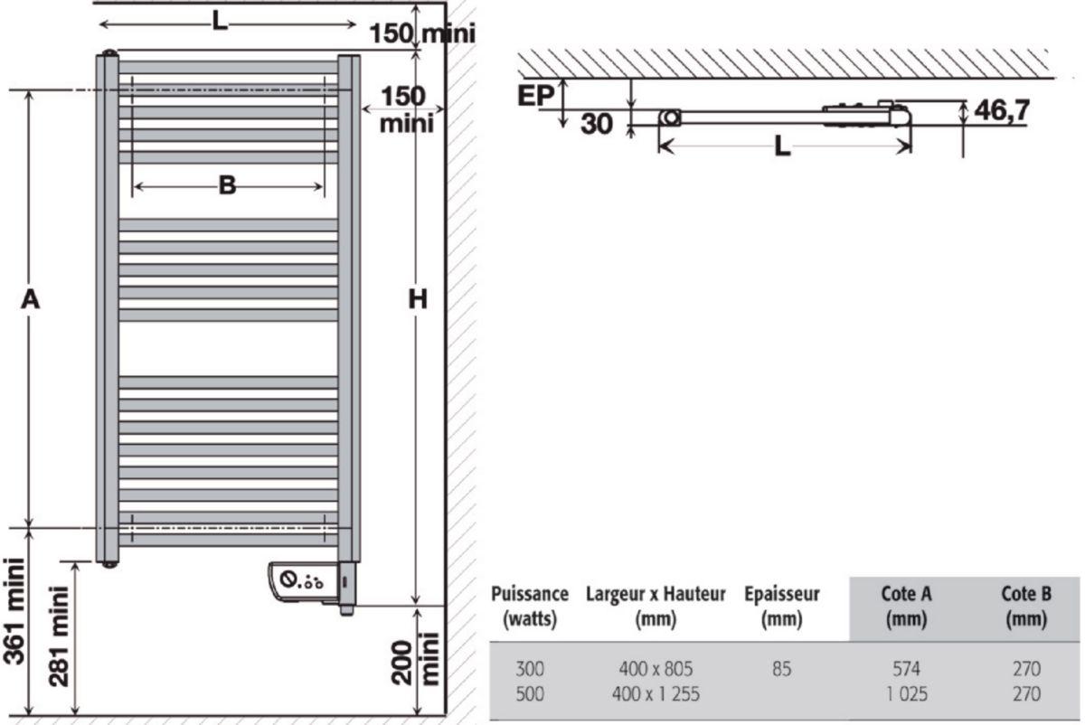 Radiateur sèche-serviettes 2012 ETROIT H : 1255 mm largeur : 400 mm 500 W réf. 831405