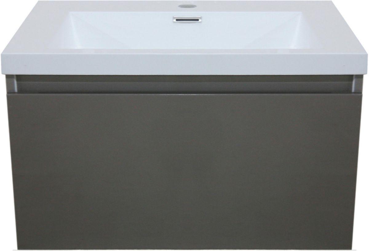 meuble sous vasque primeo 80 cm suspendu 2 tiroirs gris. Black Bedroom Furniture Sets. Home Design Ideas