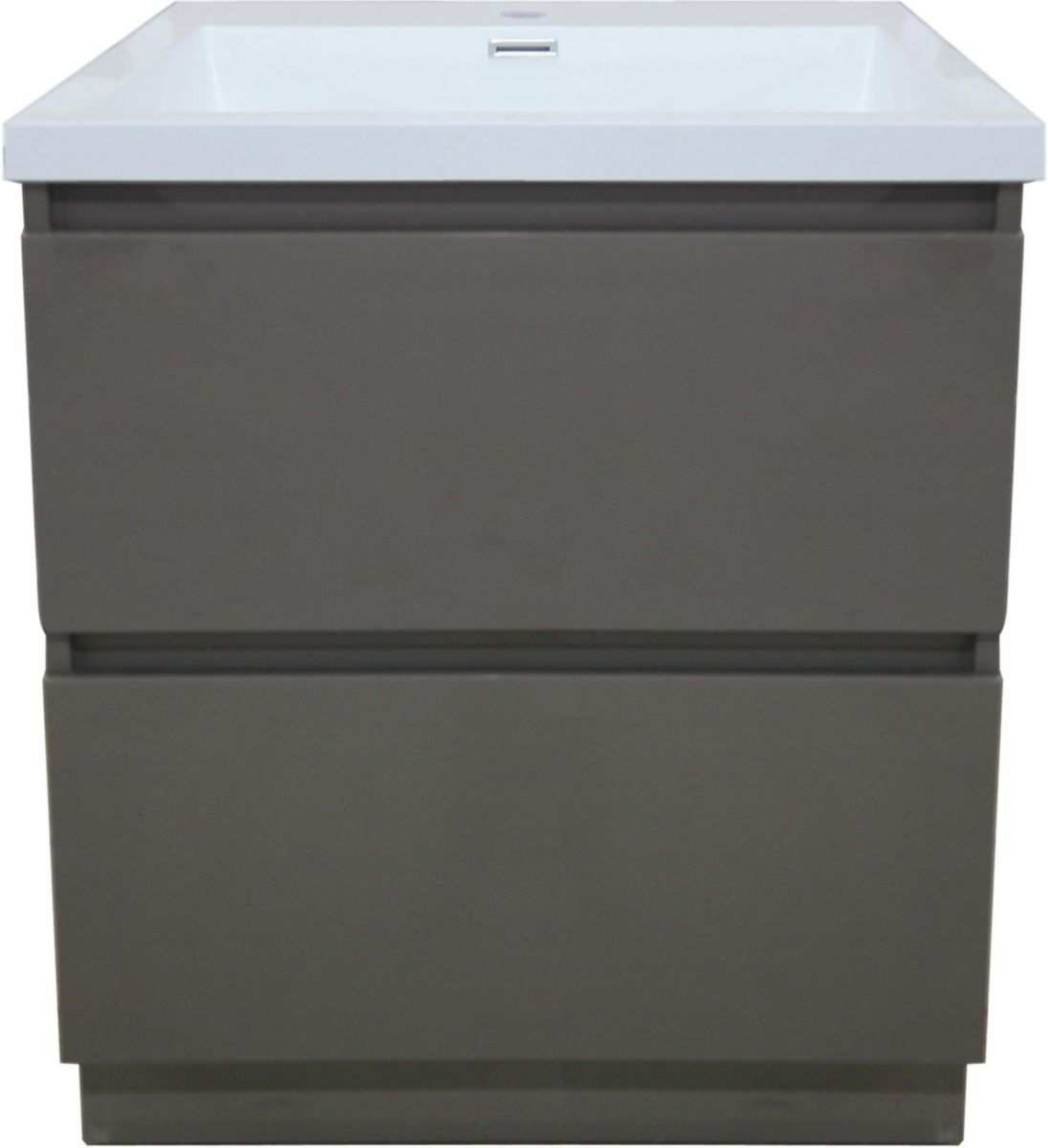 meuble sous vasque primeo 80 cm au sol 2 tiroirs gris alterna sanitaire brossette