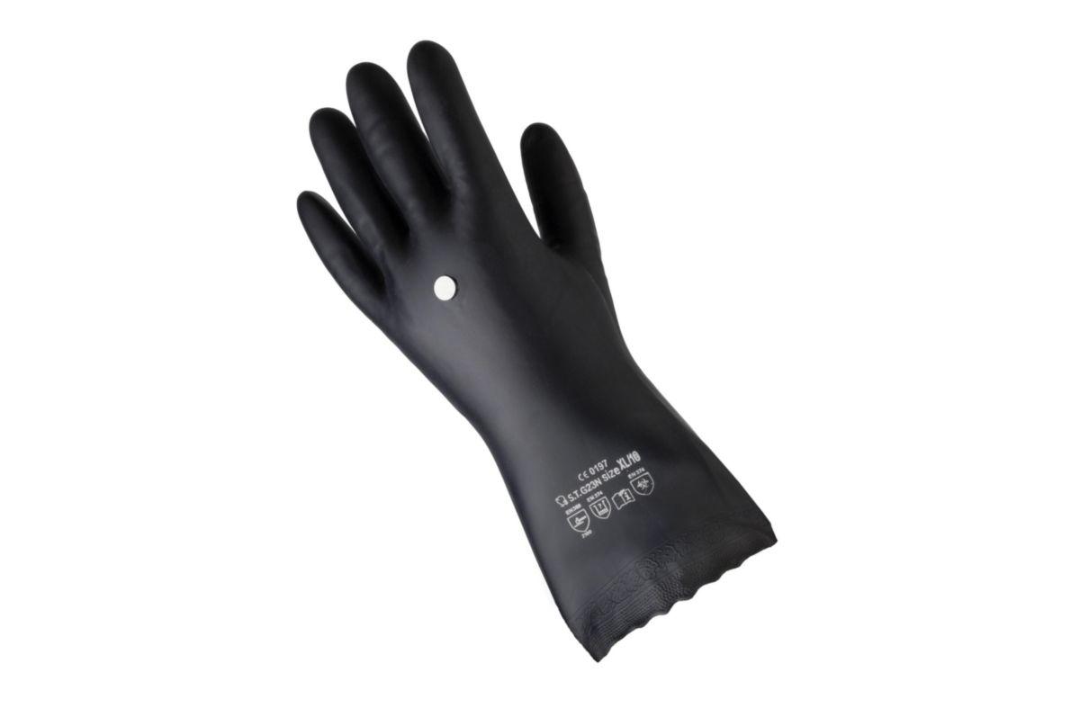 Gant chimique PVC noir Taille 10 Travaux de précision solvants et fuel, réf. 273-308-10-6