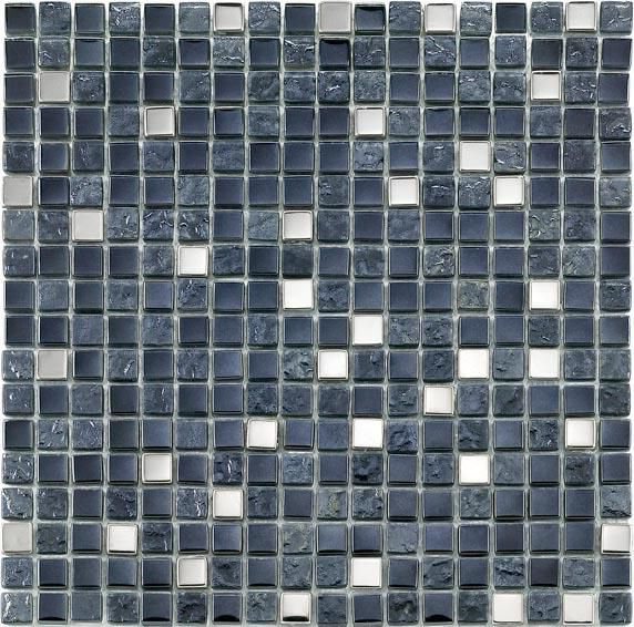 Mosaïque 29,8x29,8 cm verre et pierre - Tuscany Metal Black - tesselles 1,5x1,5 cm