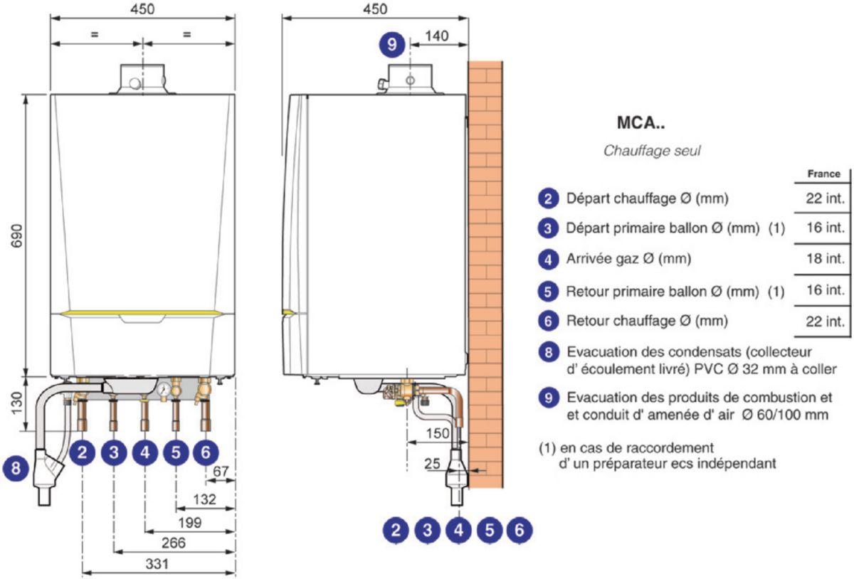 Chaudière murale gaz INNOVENS à condensation 35,9 kw chauffage seul ventouse horizontale MCA35VH, Classe énergie : A - Colis MCA35VH - réf.