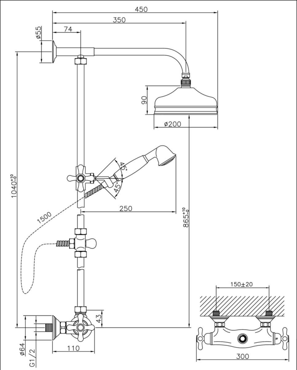 Colonne de douche ANTICA avec mitigeur thermostatique chromé
