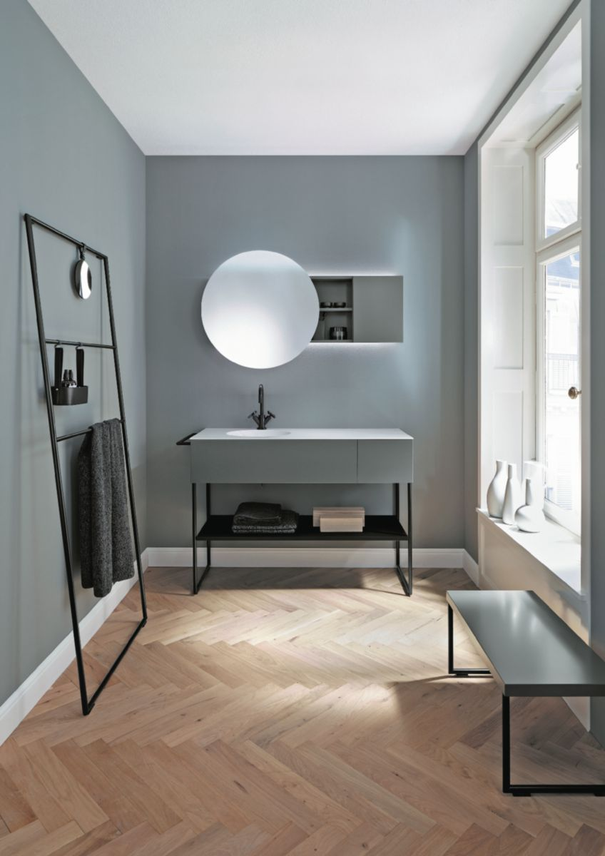 Ensemble plan de toilette en pierre de synth se brillante et meuble sous vasque sur support - Meuble sous vasque toilette ...