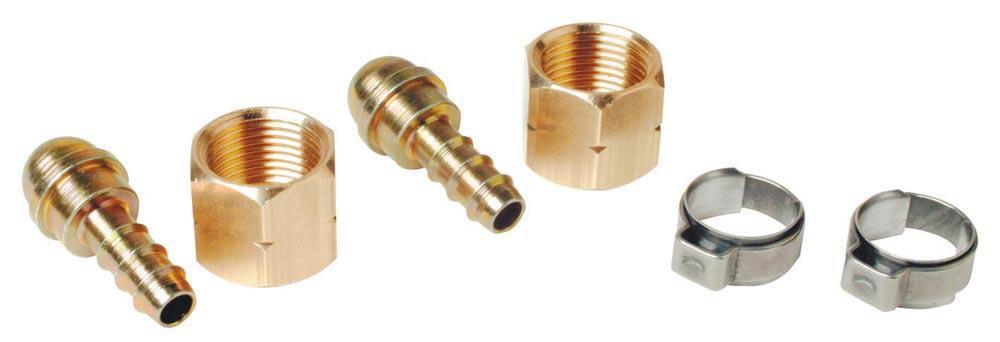 Raccords tétine pour tuyau diamètre 6,3mm avec écrou 3/8 gauche et 2 colliers blister de 2 réf. 963R