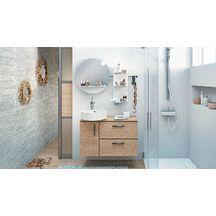 Meuble salle de bain DELPHY ILOT chêne doré structuré 90 cm