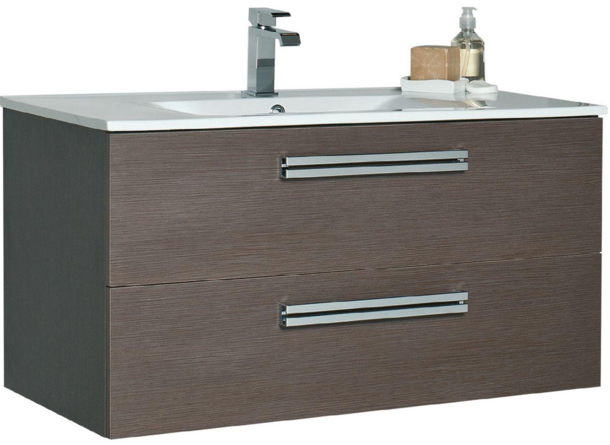 Alterna meuble sous vasque seducta 90 cm 2 tiroirs natural caf cedeo - Meuble salle de bain cedeo ...
