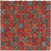 Mosa que murale int rieur sur trame 30x30 cm marbre rouge for Carrelage bati orient