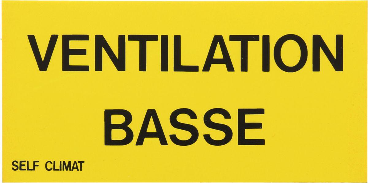 Etiquette non autocollante Ventilation basse 150x75mm Réf BR640187
