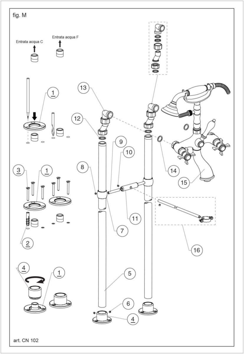 Colonnettes Sur Pied Chromé Pour Baignoire Rétro Hauteur 900mm Raccords Femelle 1 2 Mâle 3 4 Réf Ch16251