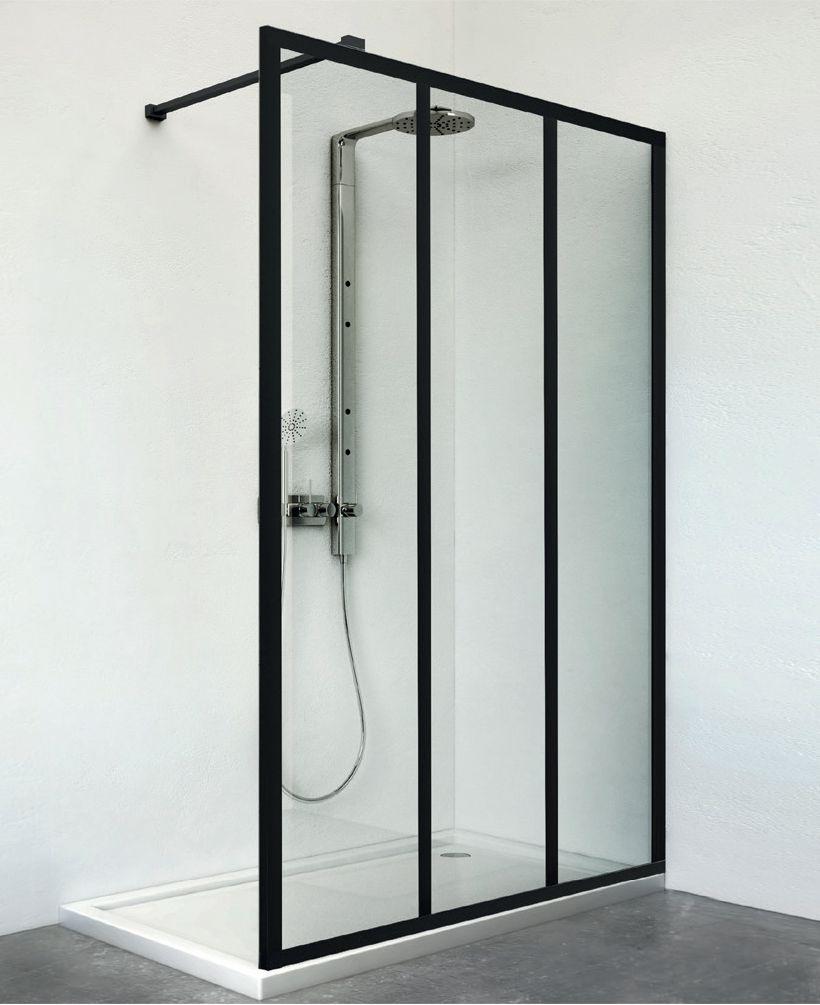 Paroi de douche Philly ambiance Loft EI PW3 09020 NPE noir verre clair clean Réf. 1406000805