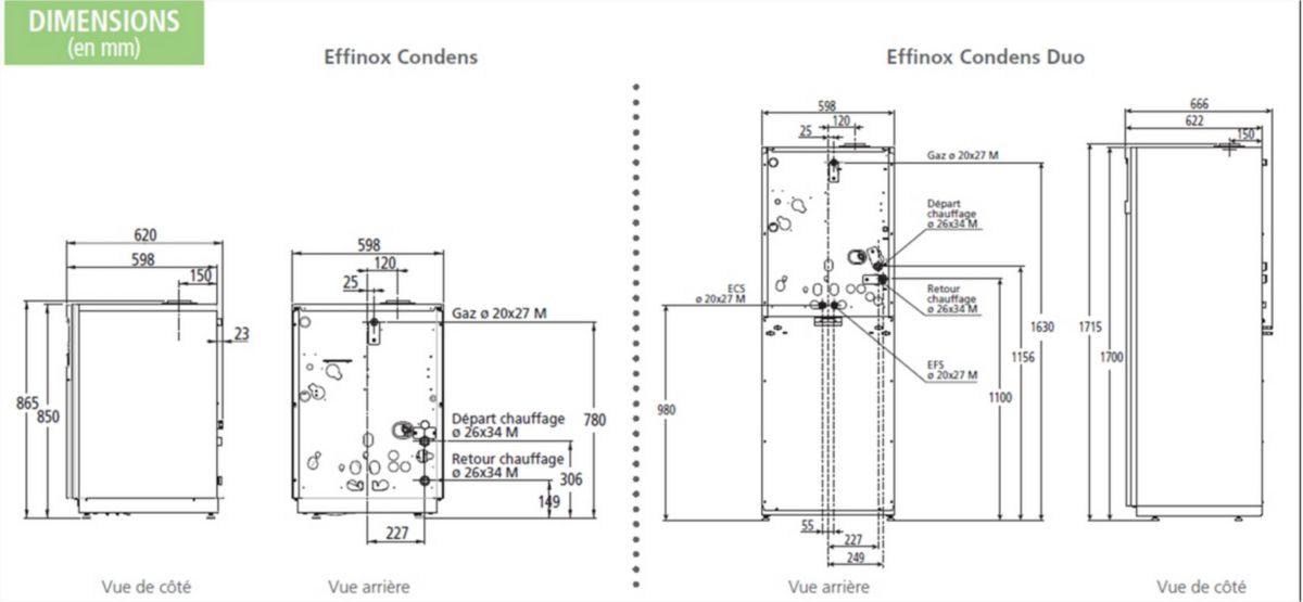Chaudière à condensation sol EFFINOX DUO 5024 avec chauffe-eaux sanitaire solaire, ventouse (non fournie) Classe énergétique A/B 21790 réf.