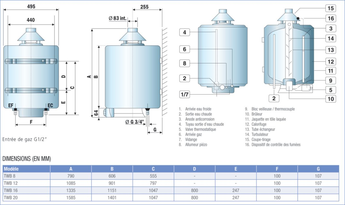 chauffe eau gaz accumulation 115 litres t chauf 89 d fum e 125 classe nerg tique b twb12 r f. Black Bedroom Furniture Sets. Home Design Ideas