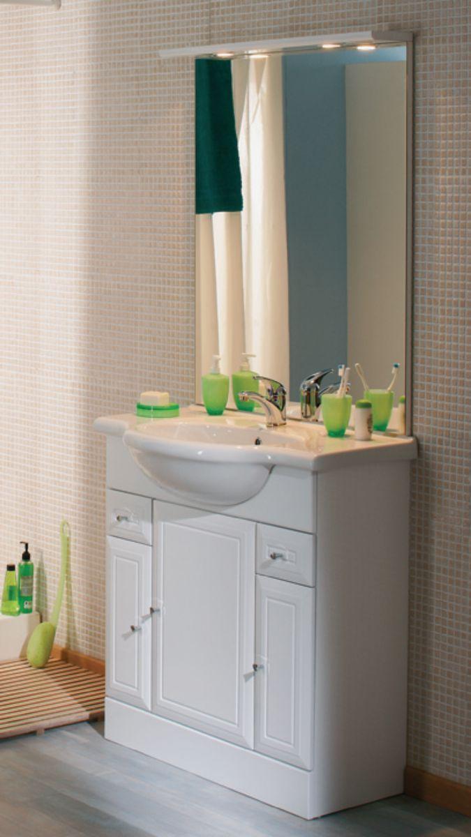 Meuble Salle De Bain Vert D'Eau ~ meuble sous vasque tolede 2 blanc 80 cm 3 portes 2 tiroirs pour