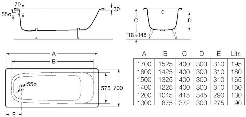Baignoire Contesa 170x70cm En Acier Emaille Epaisseur 1 5mm Bord