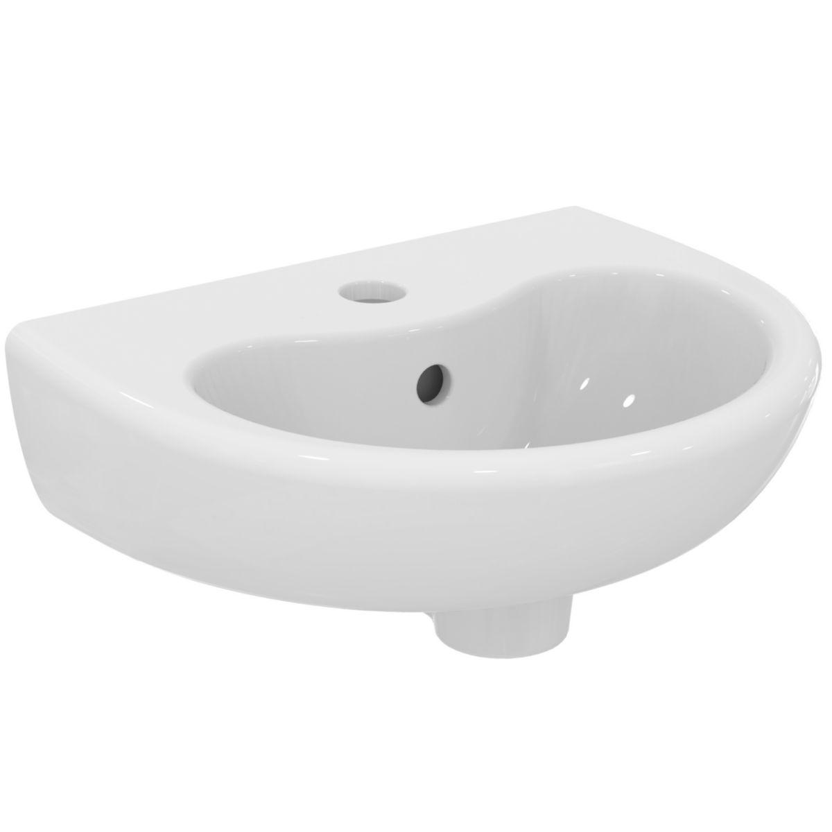 Lavabo Contour 21 40 x 33 perce 1 trou avec trop plein blanc Réf. S263801
