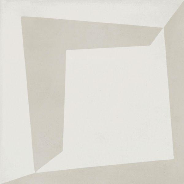 Carreau ciment Bati Orient Moderne gris clair/blanc 16mm 20x20cm CIMI49