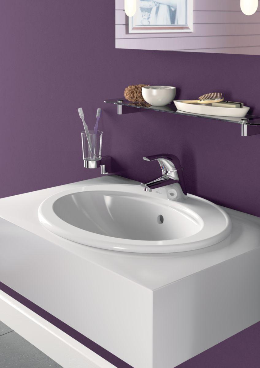 PORCHER - Vasque à encastrer ULYSSE Lg : 55 cm Céramique blanc Réf ...