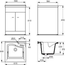 bac laver lago lg 60cm c ramique blanc r f j350201. Black Bedroom Furniture Sets. Home Design Ideas