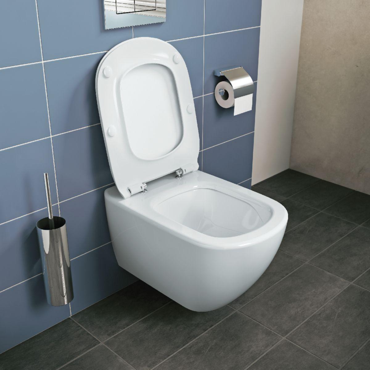 Pack WC suspendu TESI Aquablade fixations invisibles abattant ultrafin frein de chute Réf.T354601