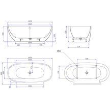 baignoire agata lot monobloc ovale 165x80x55 cm r f. Black Bedroom Furniture Sets. Home Design Ideas