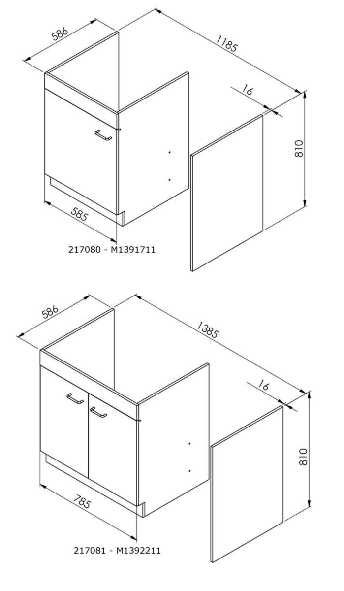Meuble Lave-vaisselle 118,5 X 57 X 82 Cm Avec Jambage, 1