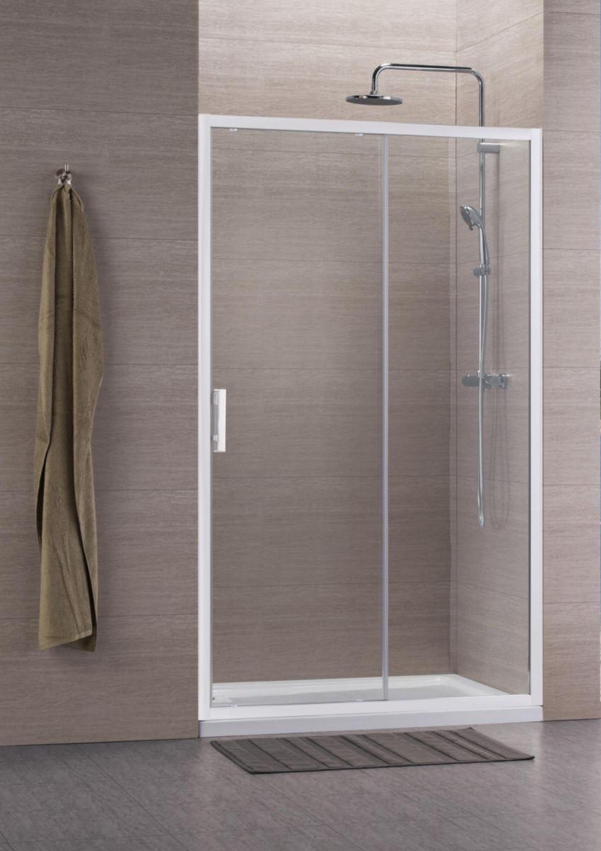 Paroi de douche CONCERTO accès de face coulissant 2 vantaux 120 x 120 cm profilé blanc verre transparent