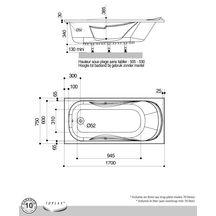 baignoire foria2 170x75cm en toplax avec accoudoirs et repose t te int gr s blanc r f 199229. Black Bedroom Furniture Sets. Home Design Ideas