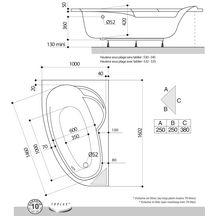 Baignoire asym trique ladiva junior 160x100 cm droite avec tablier vidage standard non fourni - Baignoire asymetrique 160x100 ...